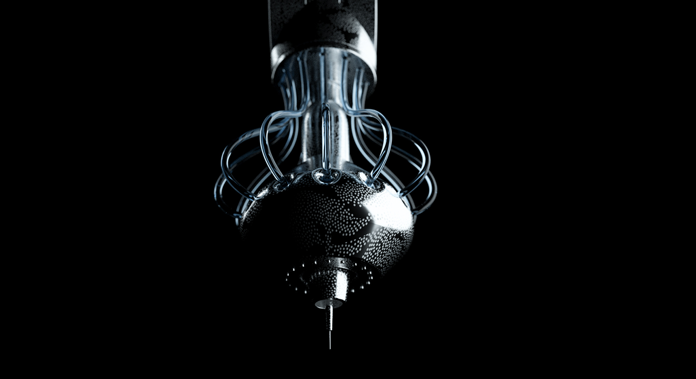 Scifi robot arm dark blue HardSurface modeling
