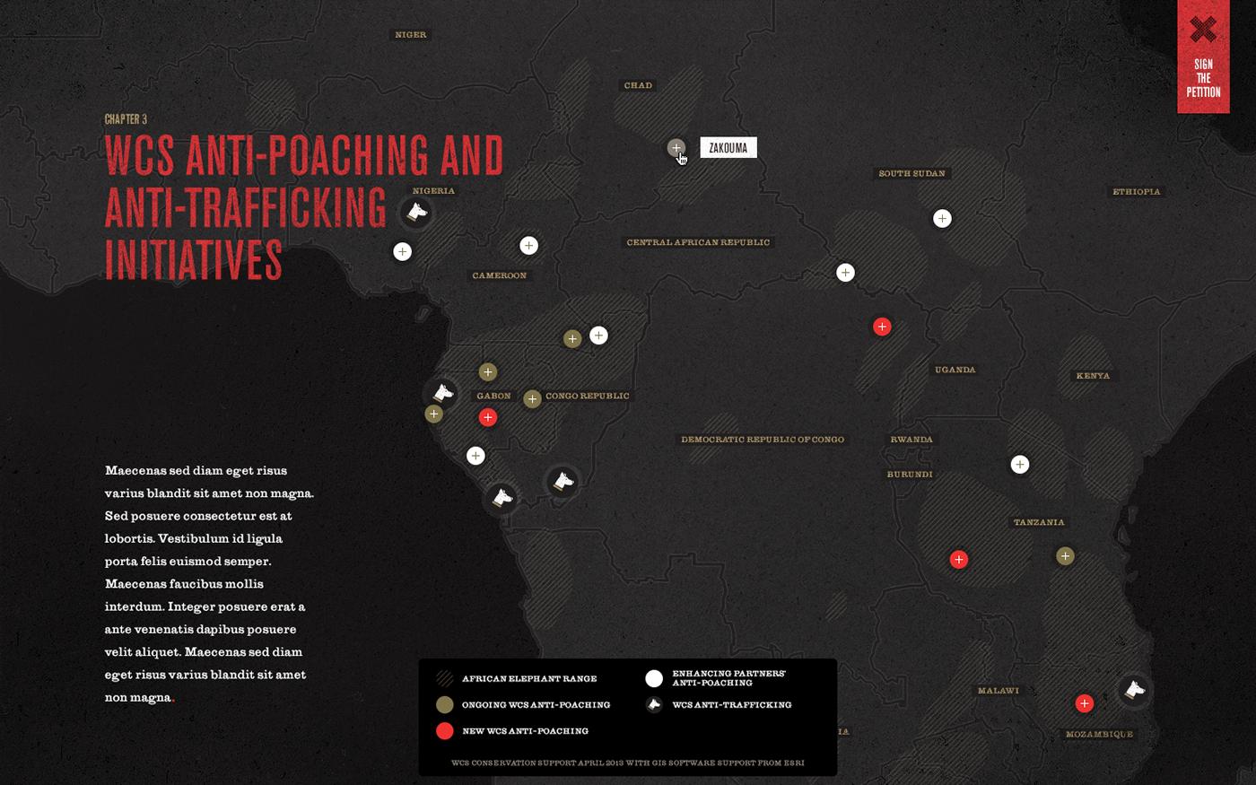 96 Elephants Ninety-six Elephants non-profit conservation wildlife elephant save NGO Website black and white red design