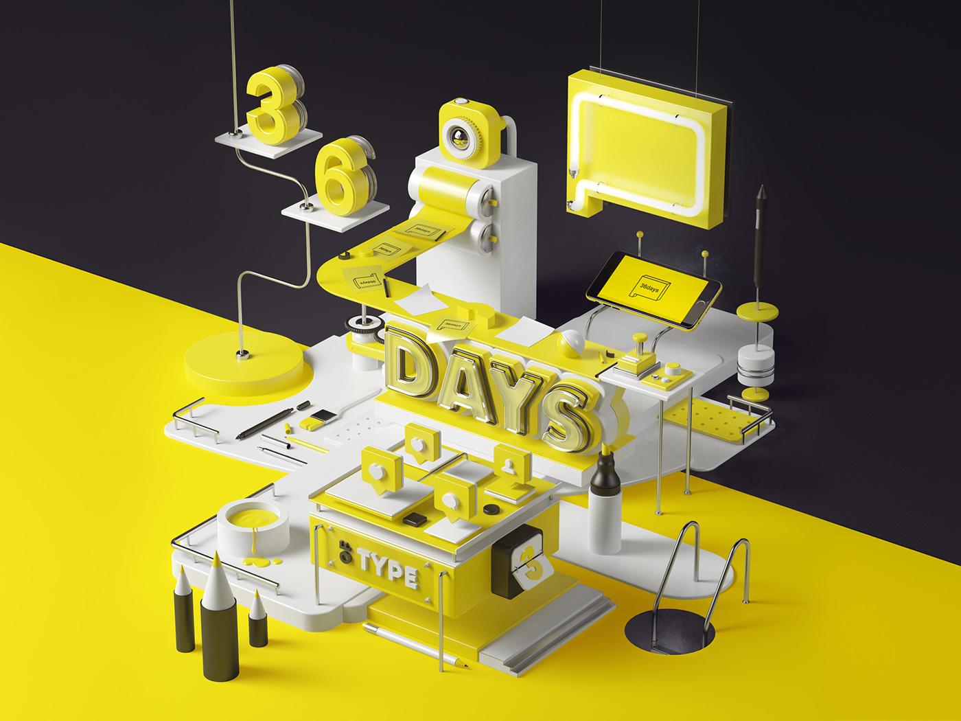 36daysoftype,c4d,vray,yellow