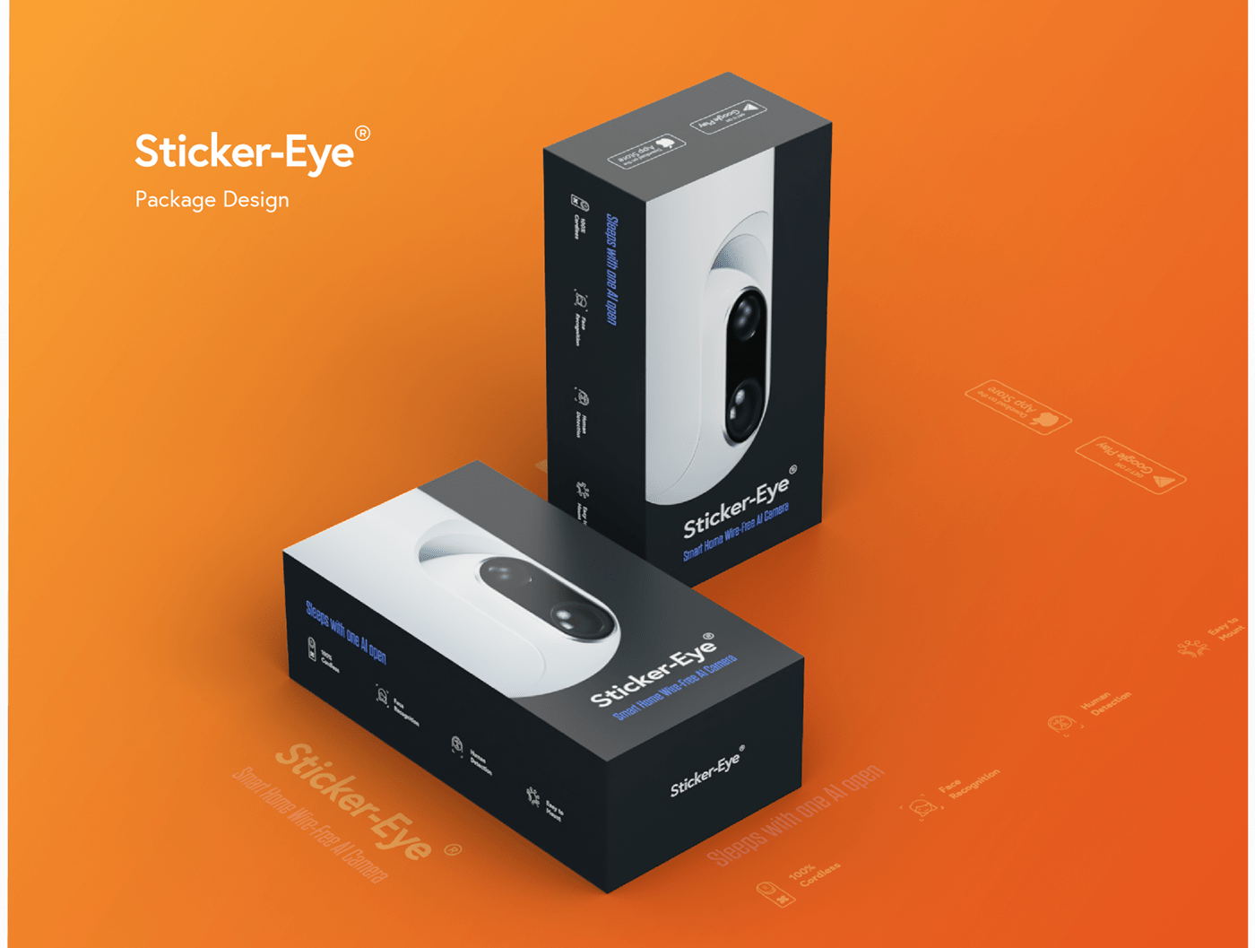 A package designed for an AI domestic surveillance camera.