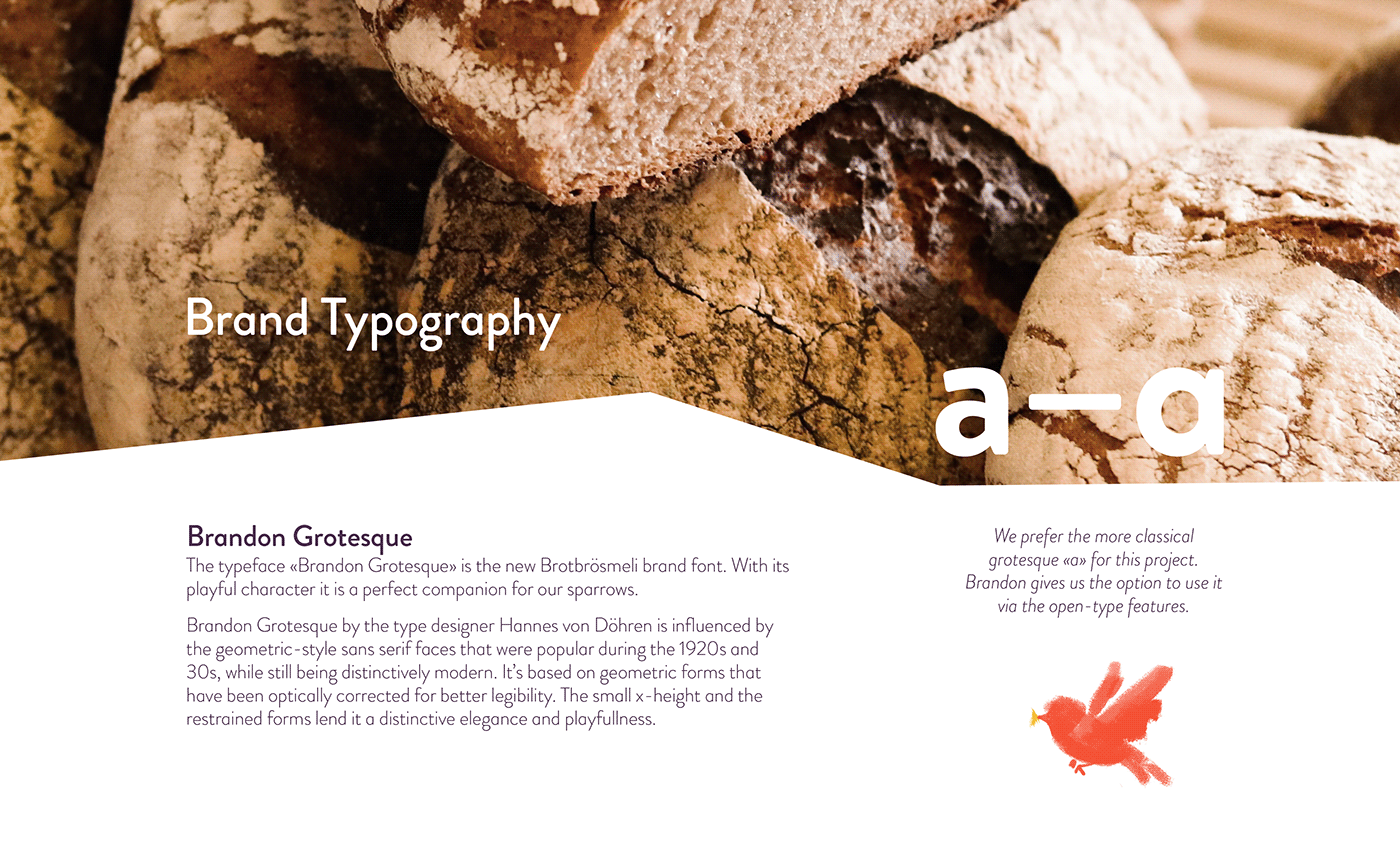 The typography used for the bakery