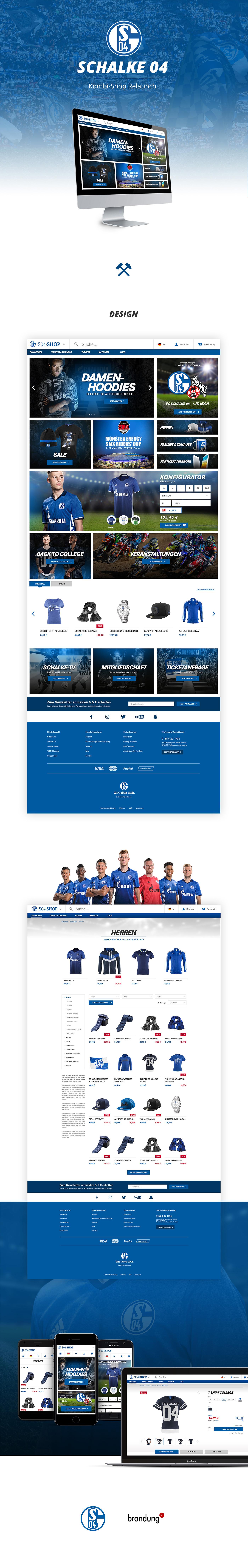 Web design e-commerce shop Responsive schalke Fussball soccer club