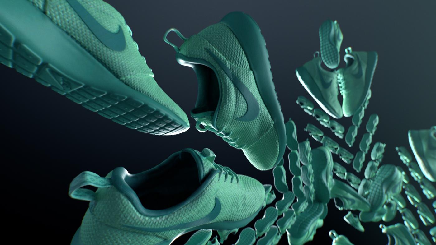 Nike adidas snowflakes CGI vray photoreal brand montage fresh sneakers instagram