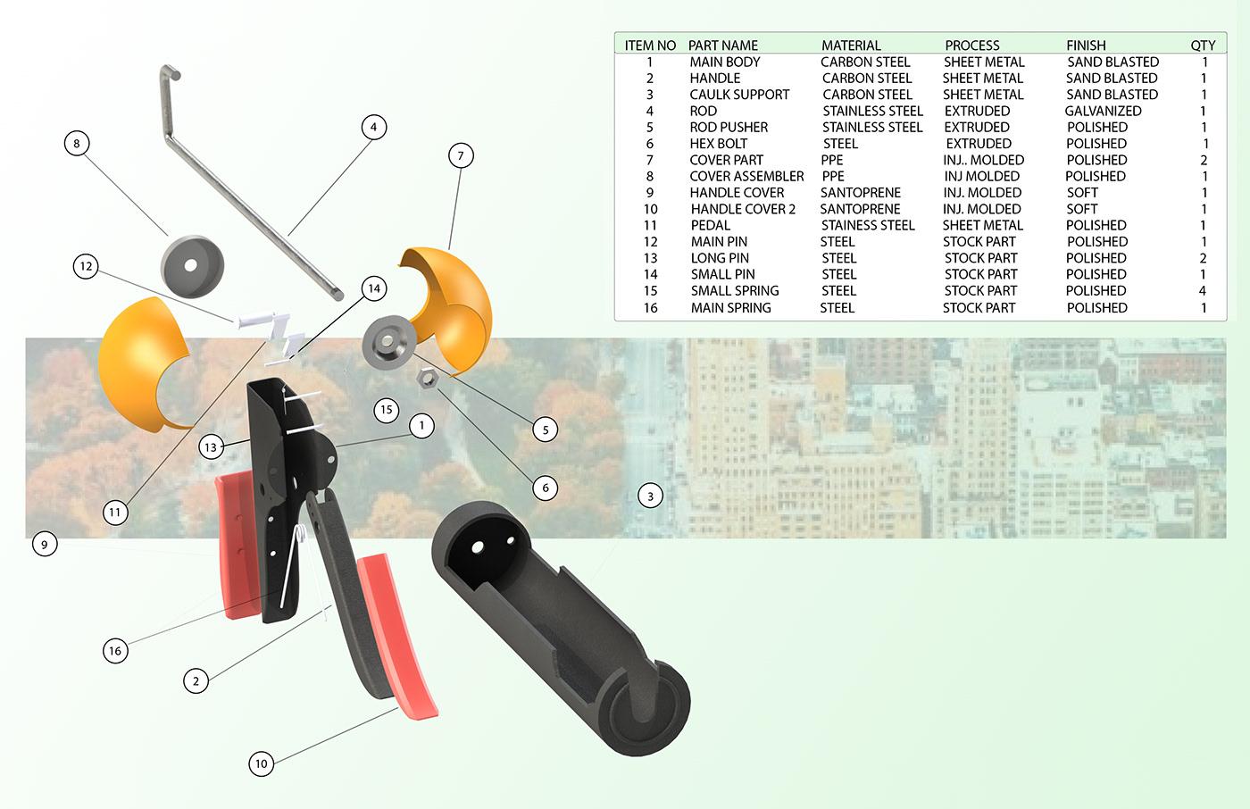 caulk gun caulk caulking gun ergonomic Mechanical Product School Project house tool tool