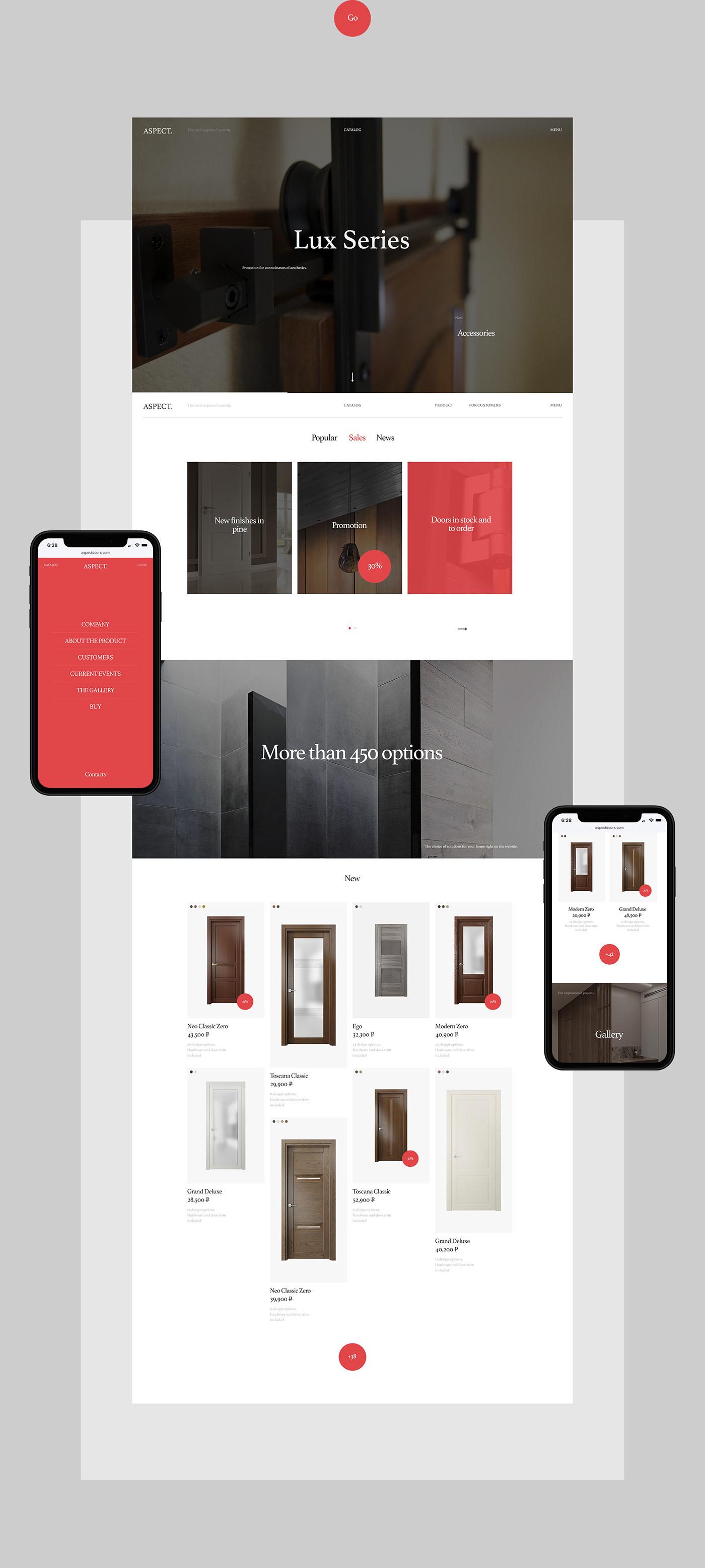 Interior Web Website promo catalog minimal typography   desktop mobile wood