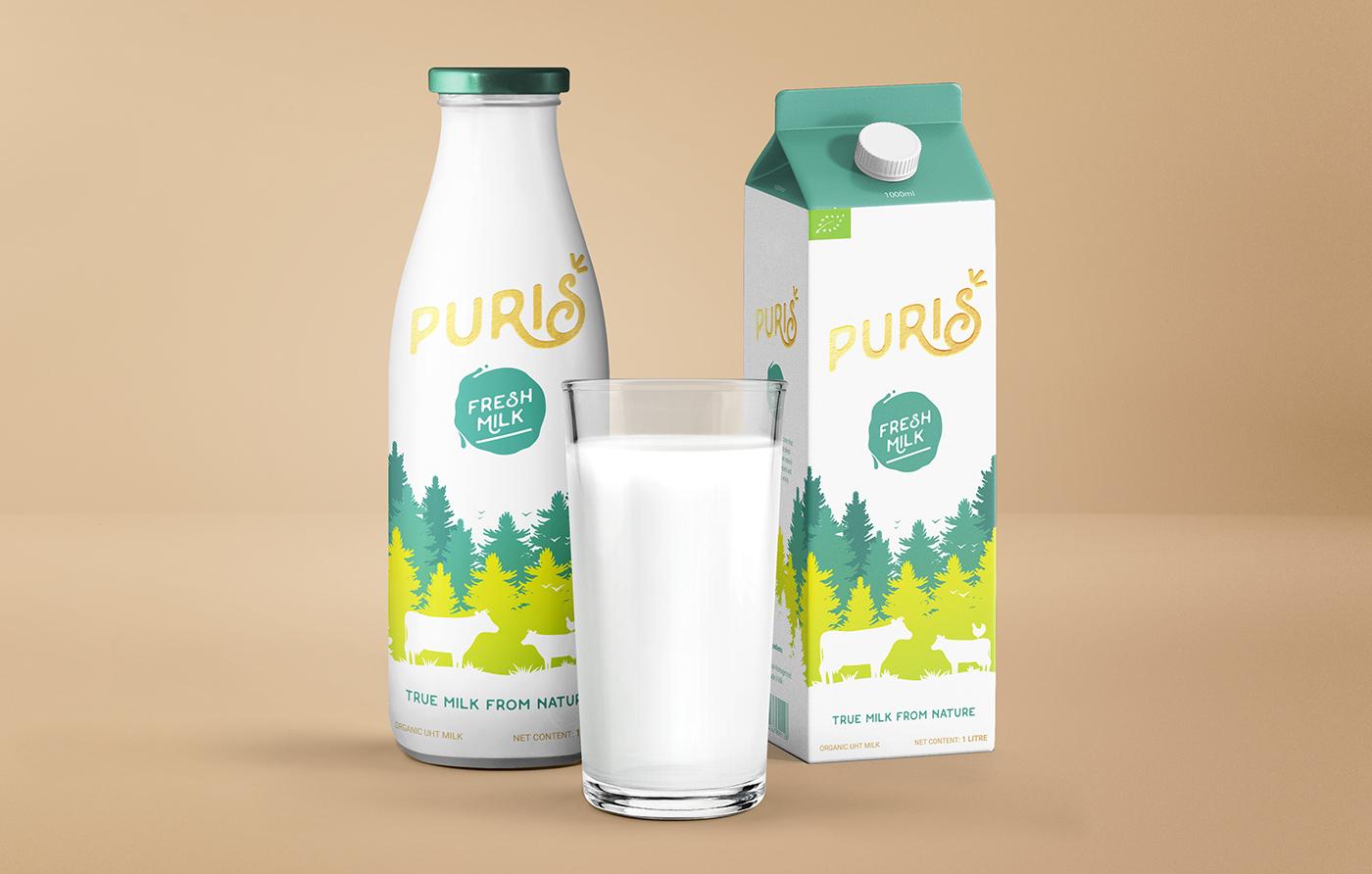 Puris Organic Milk Naming Logo And Packaging On Behance