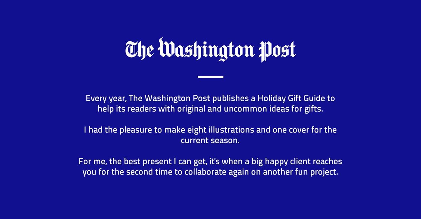 xmas Christmas Holiday Season winter present gift the washington post newspaper Editorial Illustration journal