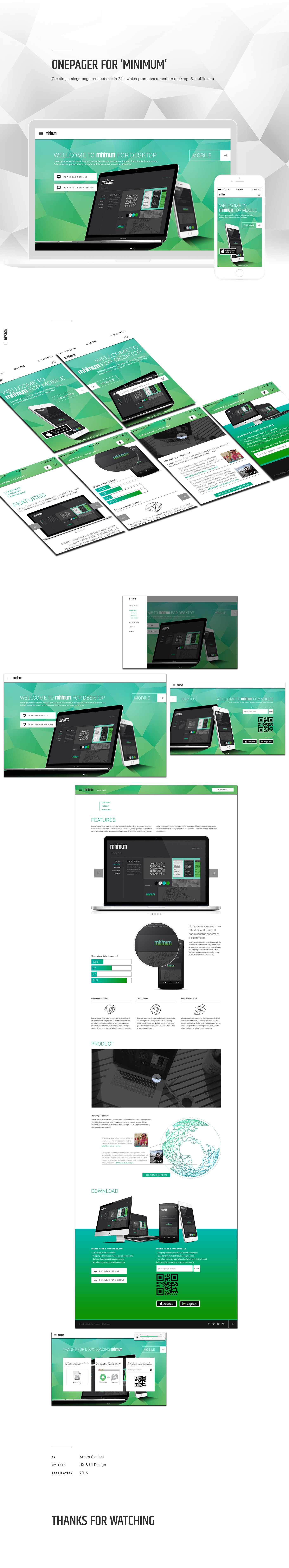 uxdesign uidesign interactiondesign Onepager Product Site desktop- & mobile app Responsive user experience UI