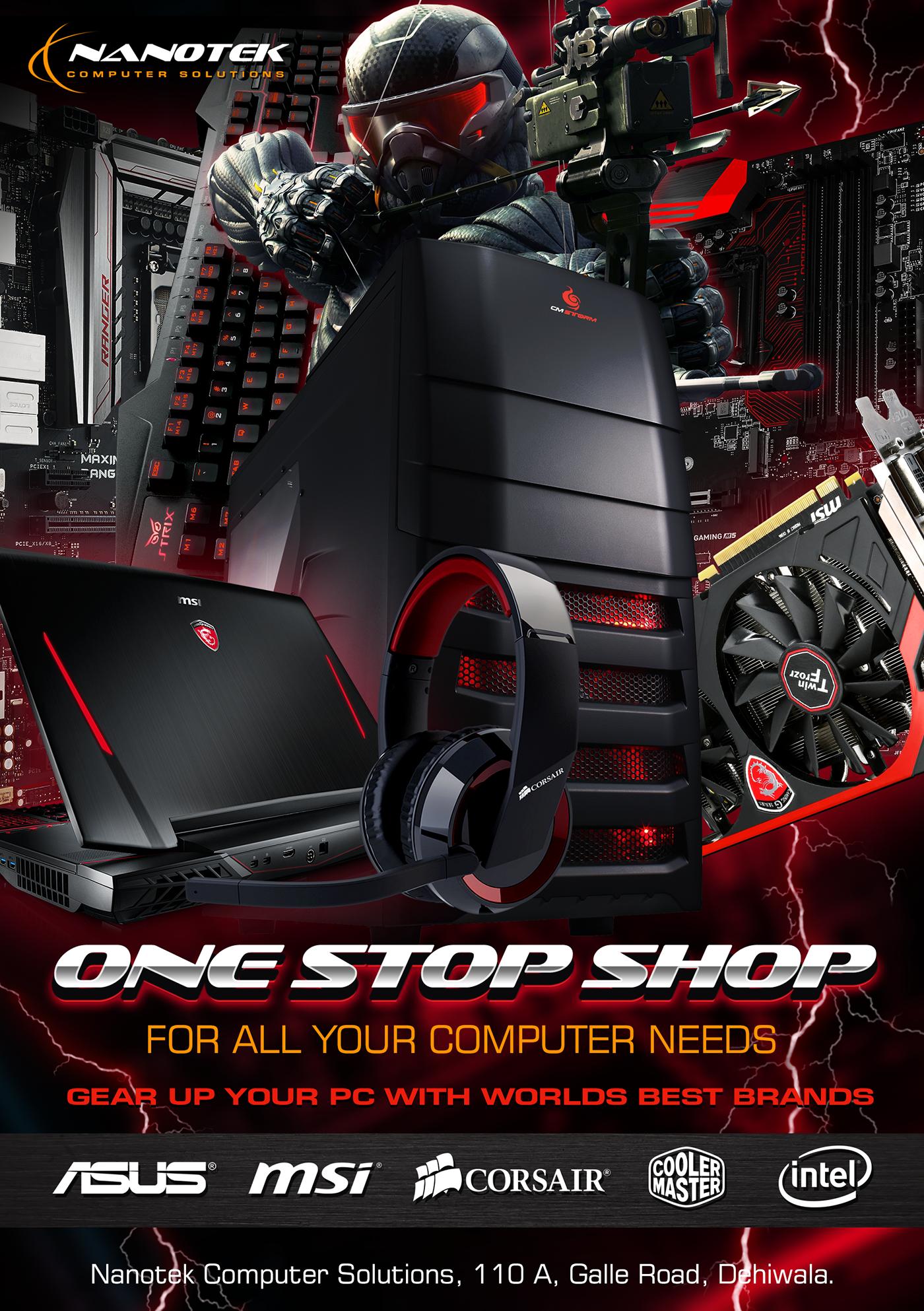computer shop computer hardware pc shop Flyer Design red & black Gaming gaming pc red black
