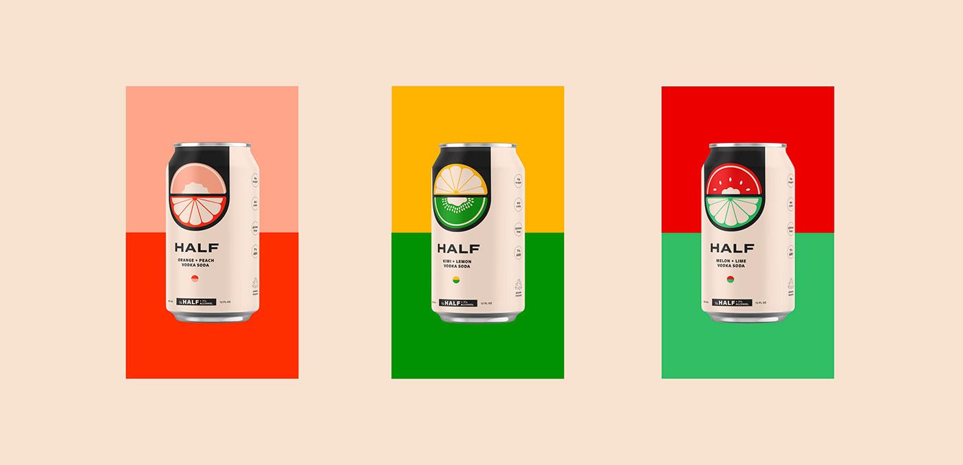 black branding  can fruits logo midcentury Vodka graphic design  Packaging