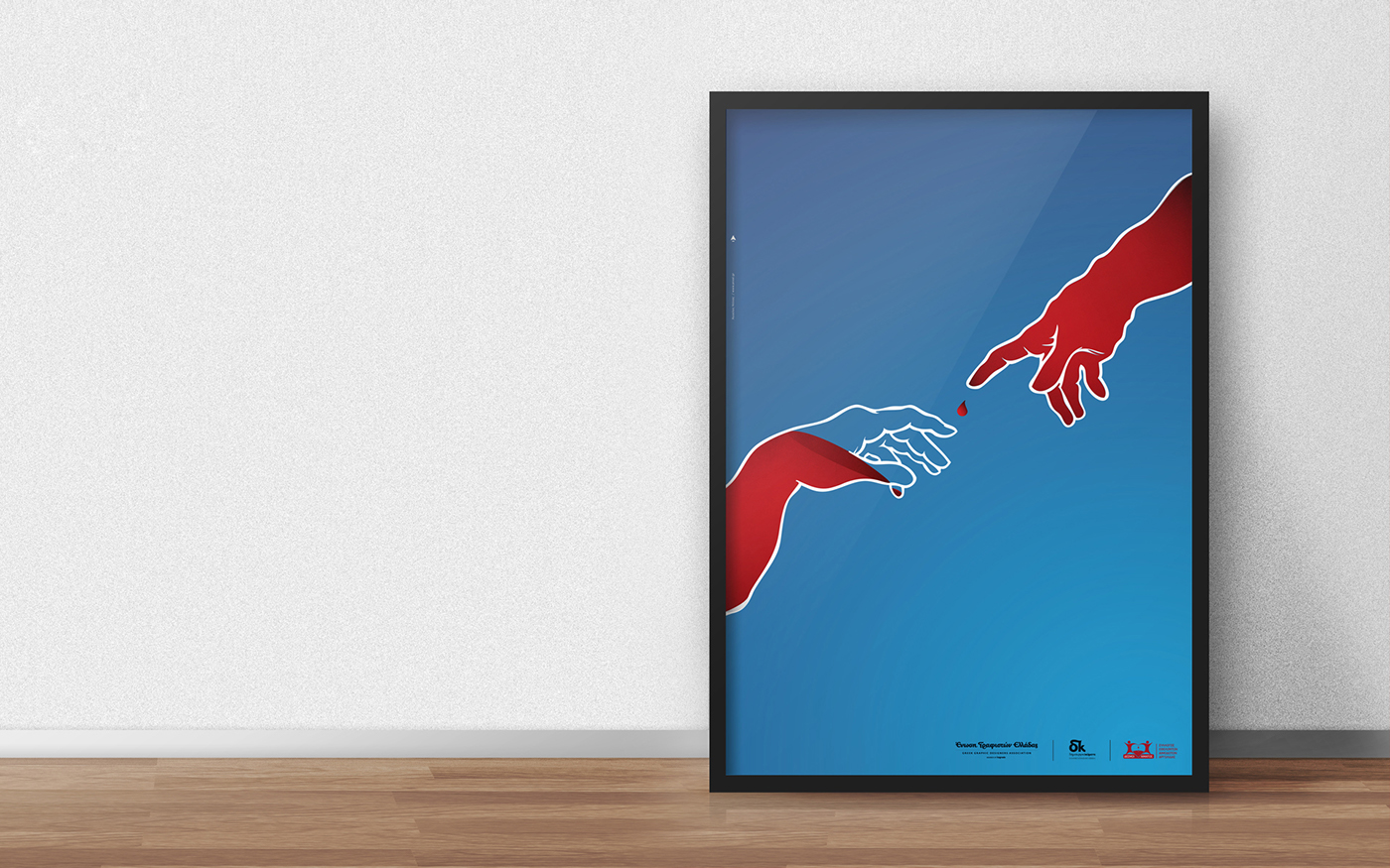 poster social design blood blood donation hands the hand of God Michelangelo