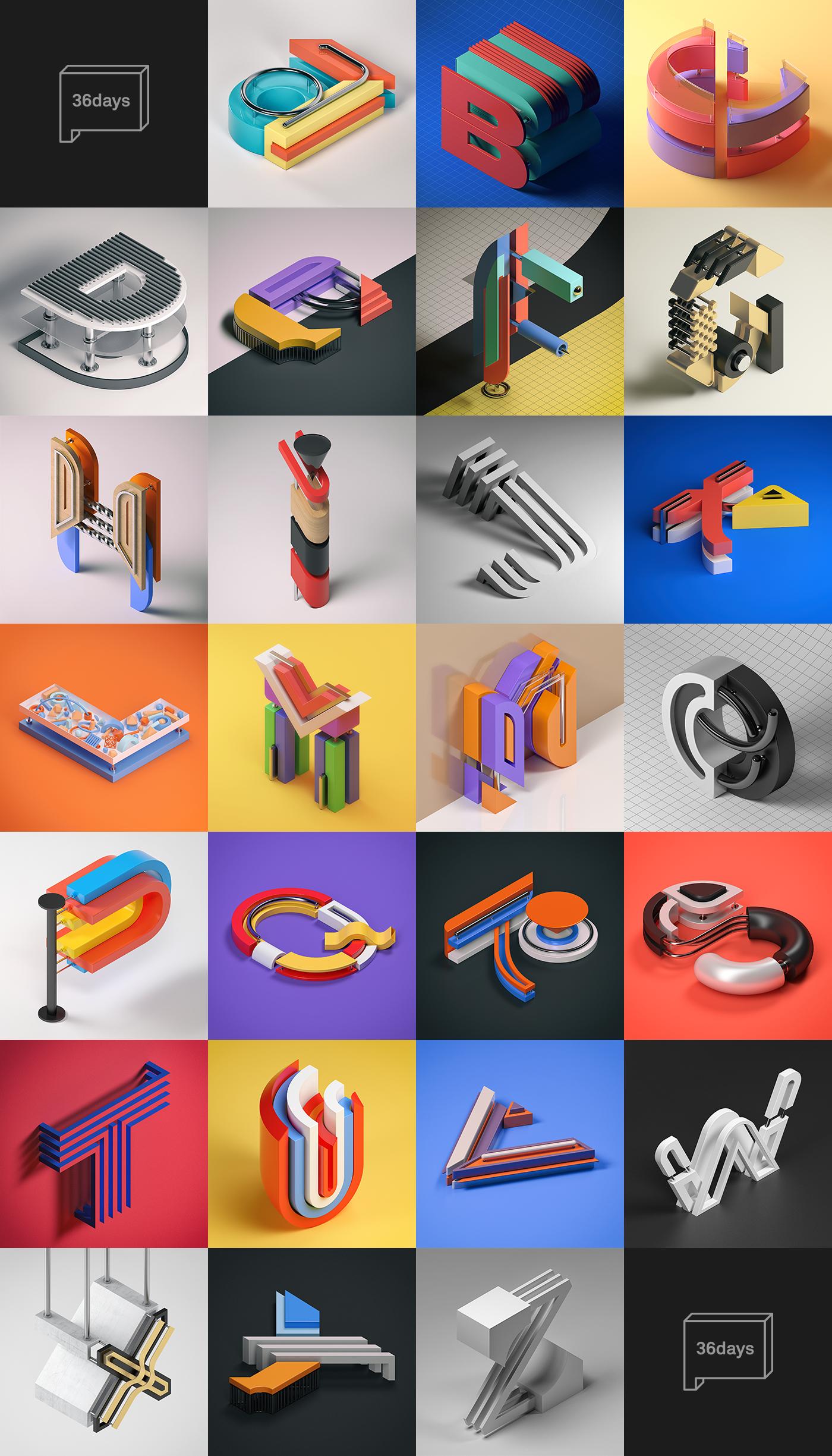 Adobe Portfolio,36days,36daysoftype,CGI,3D,type,geometric,colour,alphabet,letters,experimental,Ps25Under25,c4d,photoshop,cinema 4d,inspire