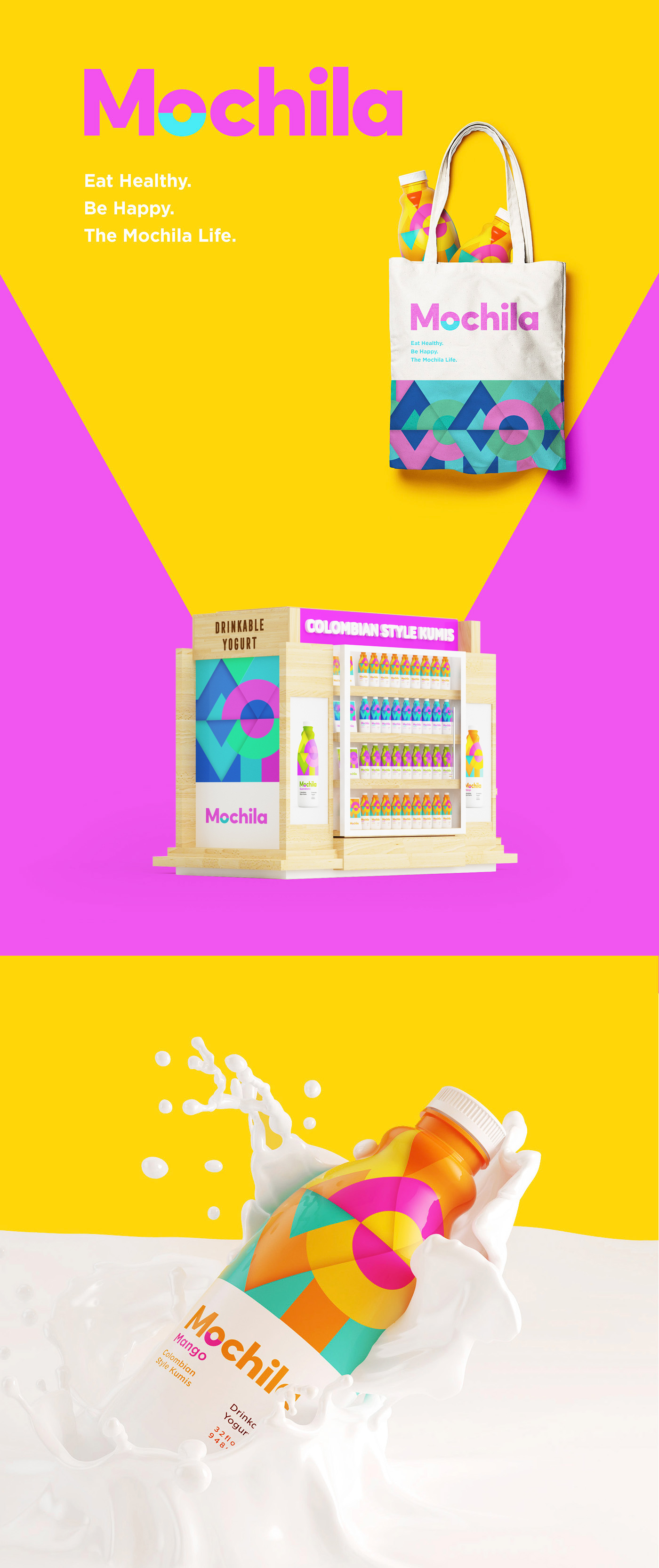 Kumis iogurt Colombian Latin happy bottle colorful