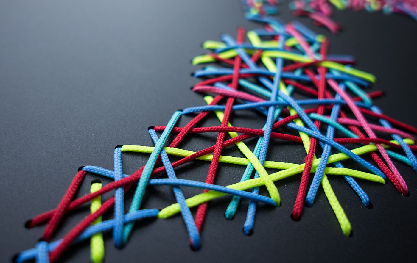 acryl glass nylon cord multilayer sculpture fine art mixed media analog craft handmade Interwoven world Lasercut design material
