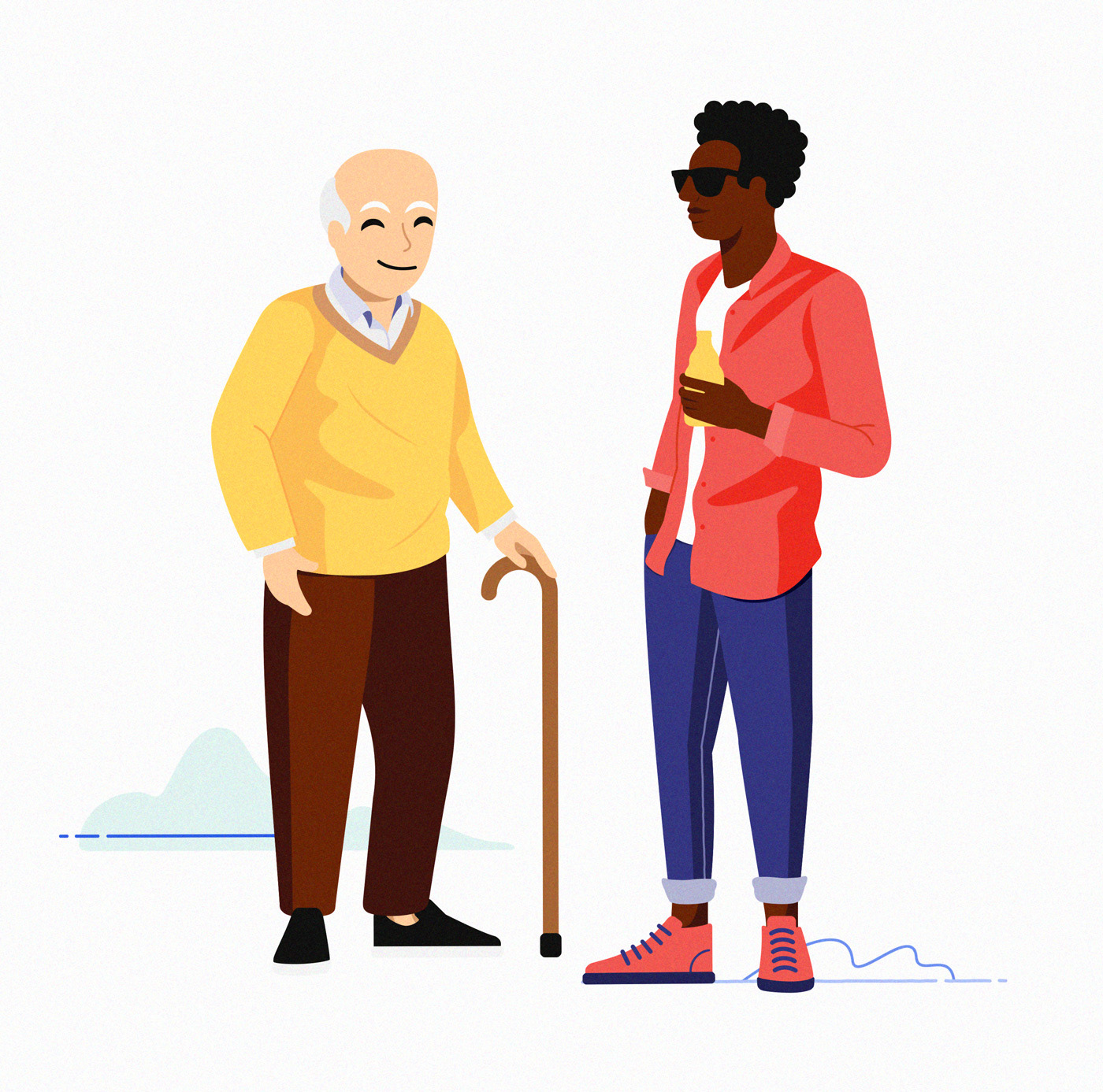 Old white man and hipster black man