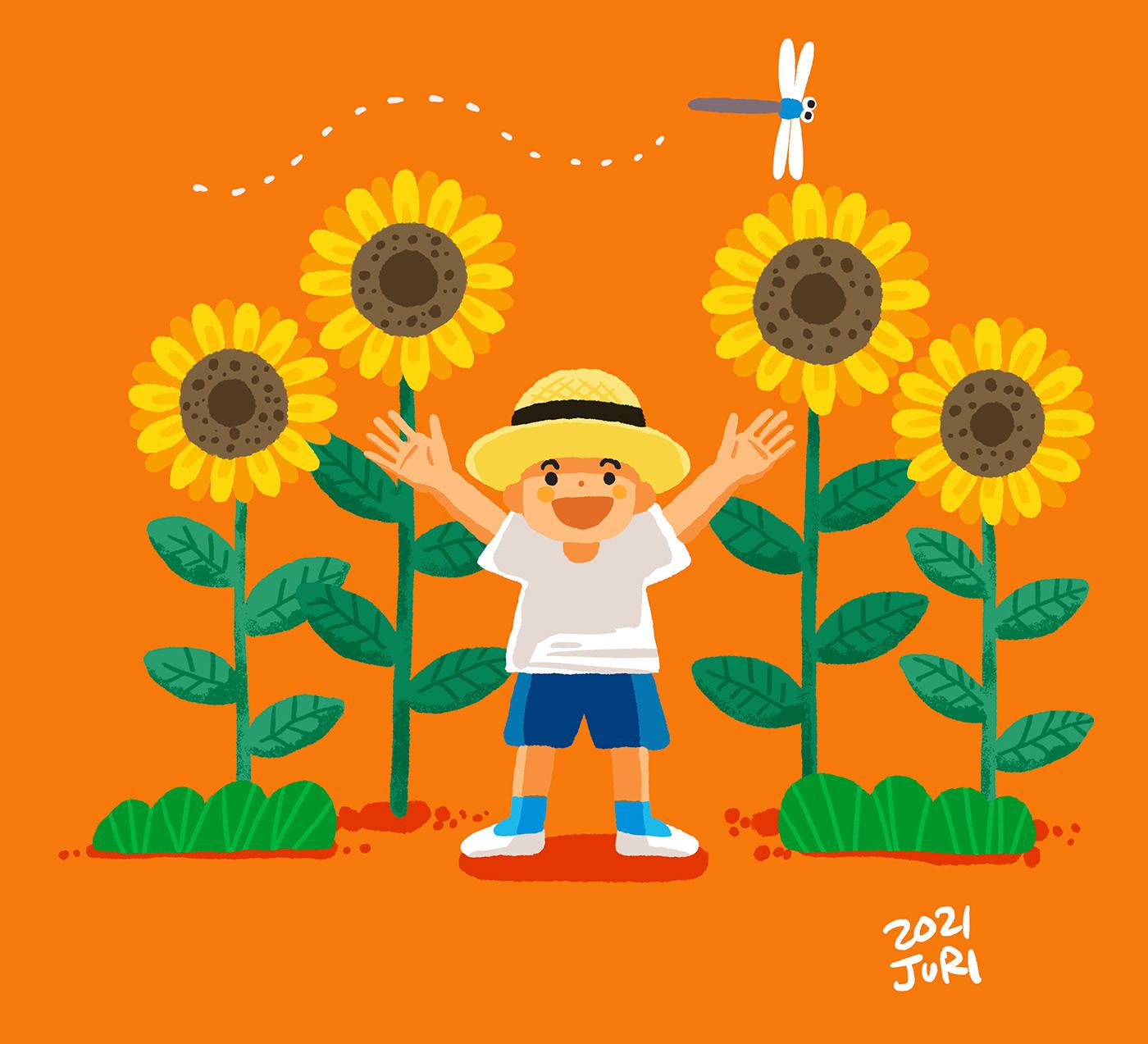 boy Flowers ILLUSTRATION  orange summer