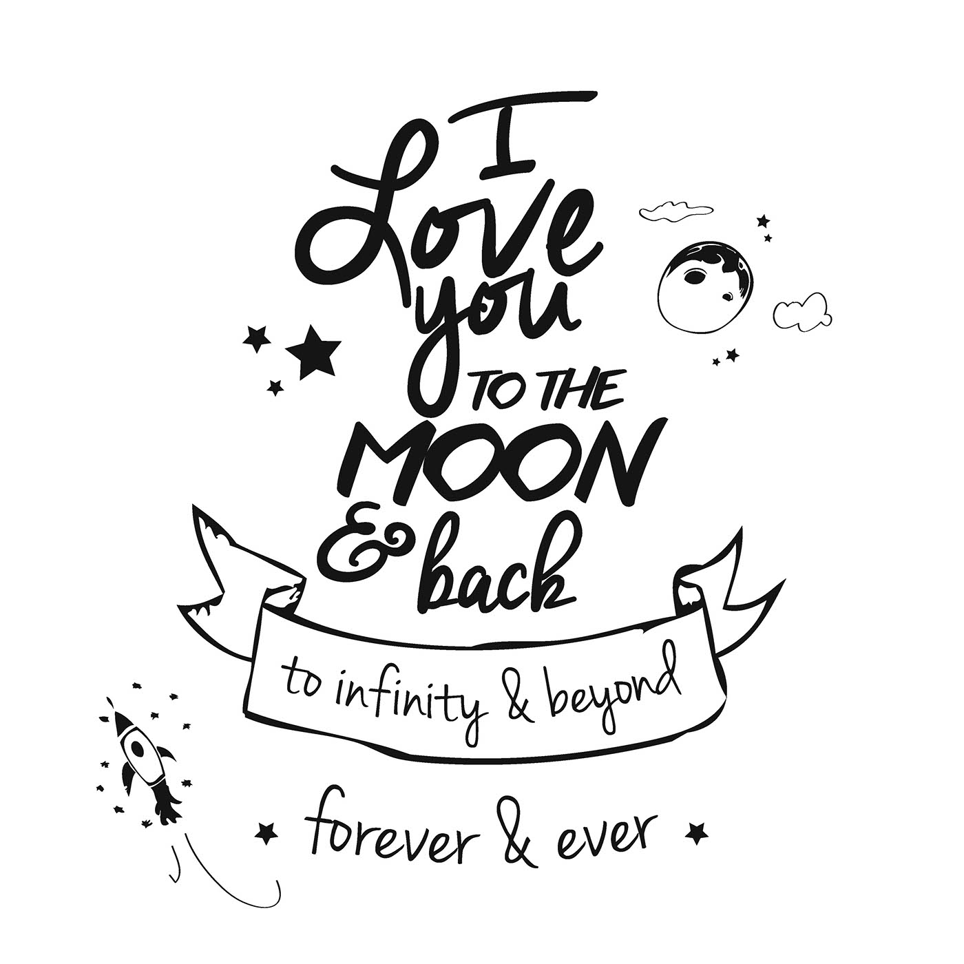 I Love You Drawings: I Love You To The Moon And Back On Behance