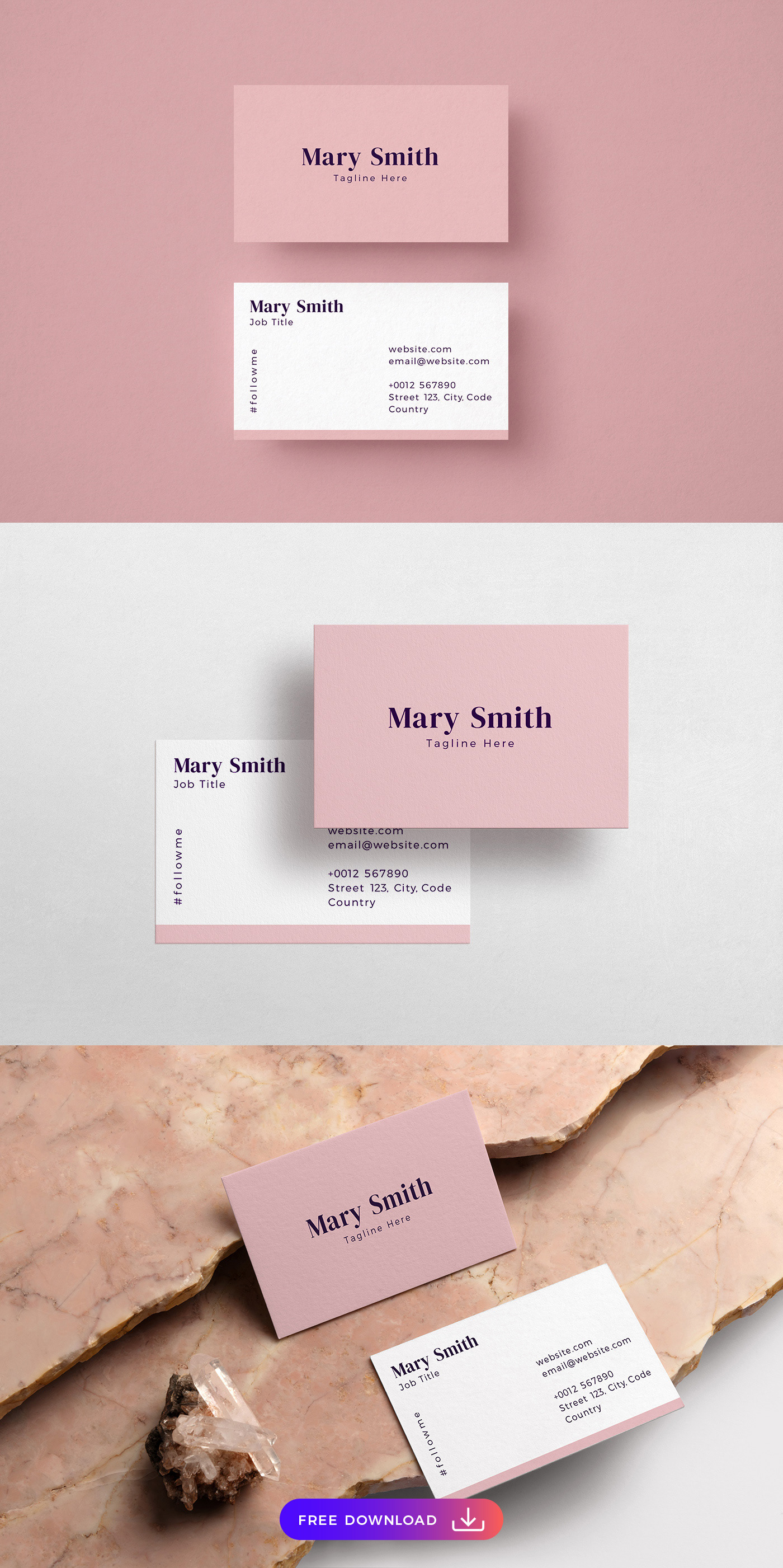 Free pink and stylish business card template