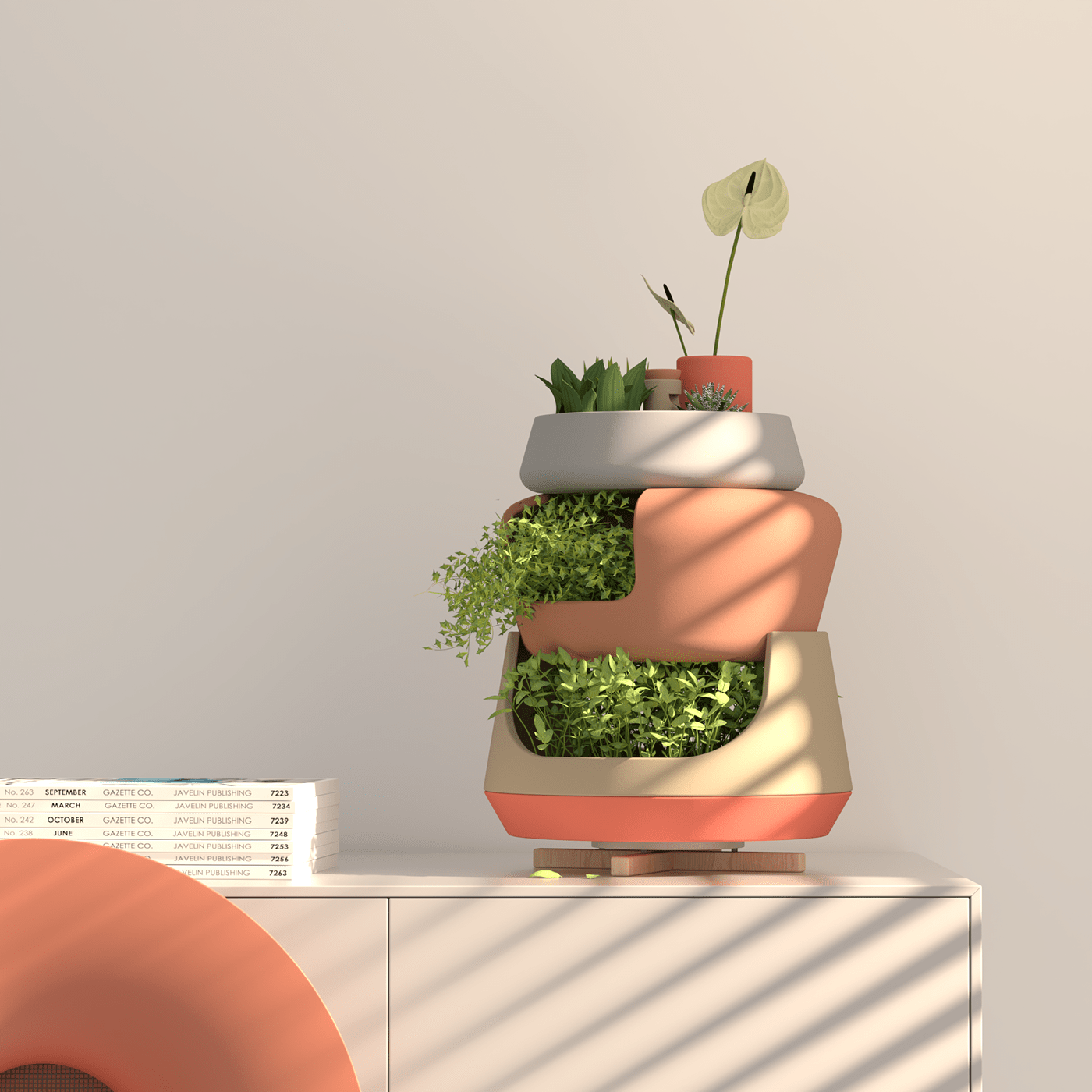 Modular vase system designed as a possible solution for organizing and taking care of plants