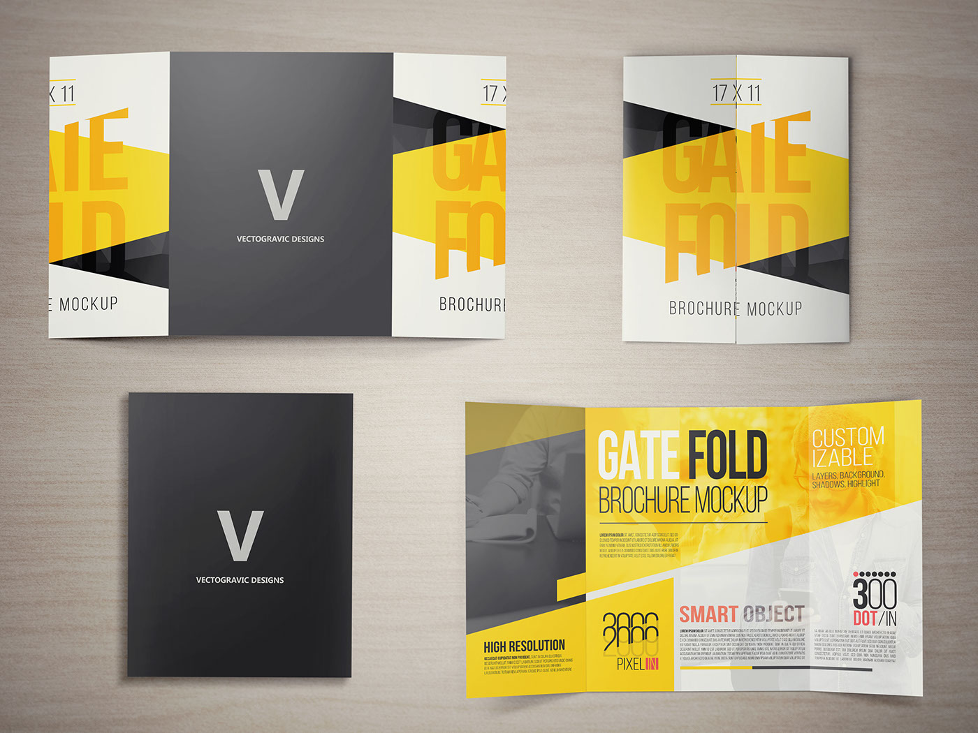 Beau Five PSD Files Of 17×11 Gate Fold Brochure Mockup, Editable And Easy To  Customize, Organized Layers, High Resolution.