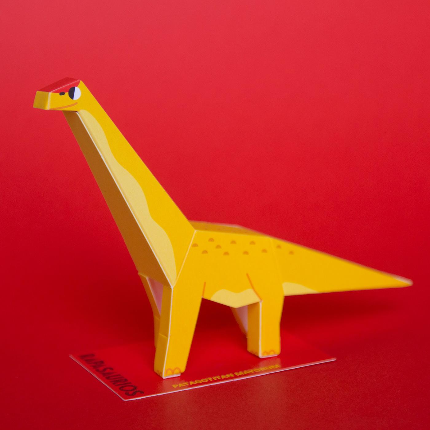 papercraft dinosaurs guardabosques rapanui paper dinosaurs lowpoly paper kit ILLUSTRATION  branding  papertoys