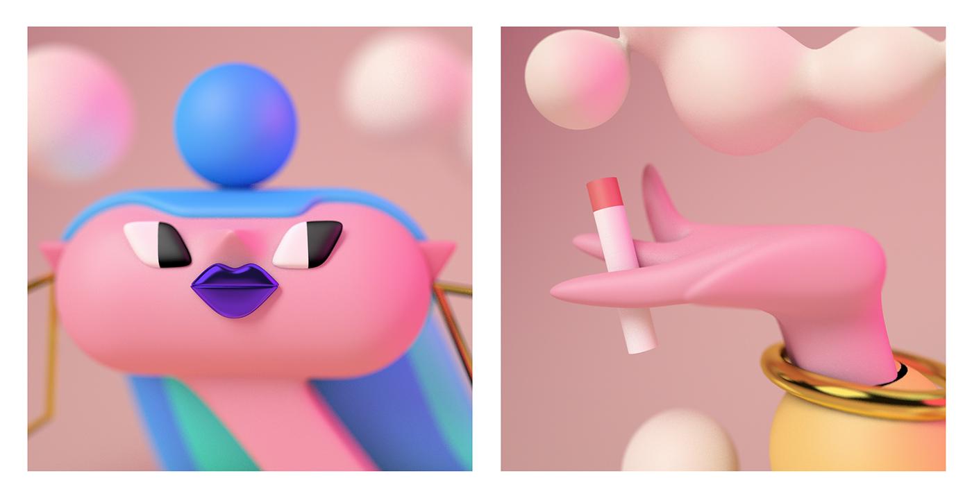 motion Cinema c4d 3D ILLUSTRATION  Character design girl smoke
