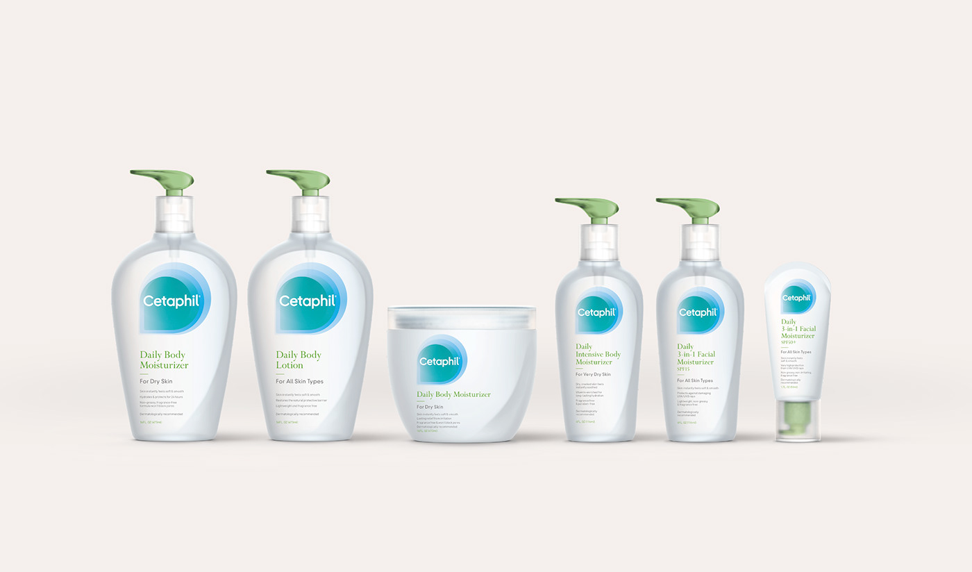 beauty branding  cetaphil cosmetics lawrence logo Logotype Packaging skin care visual identity