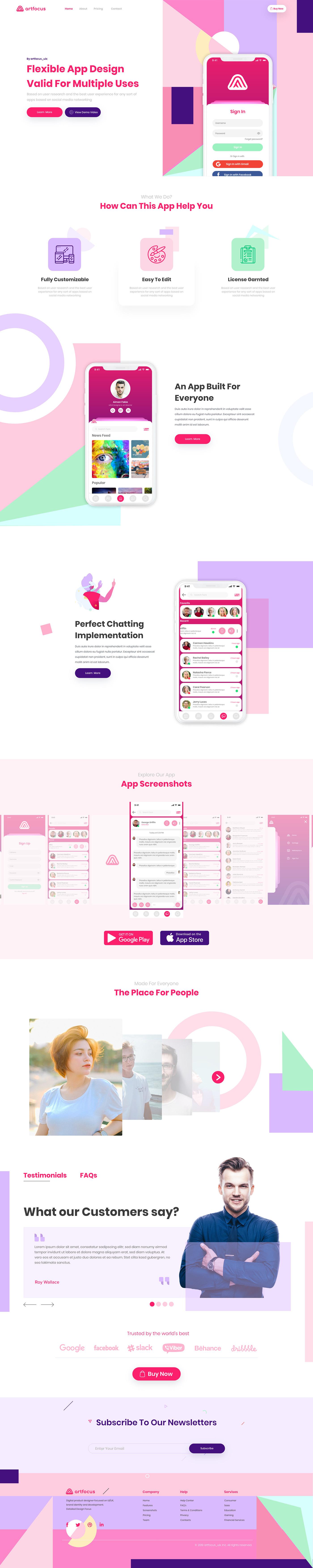 landing page App Landing Page customizable UI/UX Webdesign UserInterface Website Adobe XD designer colorful