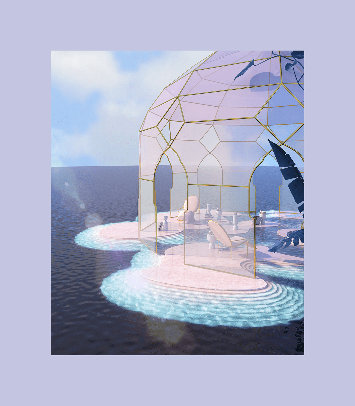 3DDesign architecture archs ethereal interiordesign pastel Render sunroom surreal vray