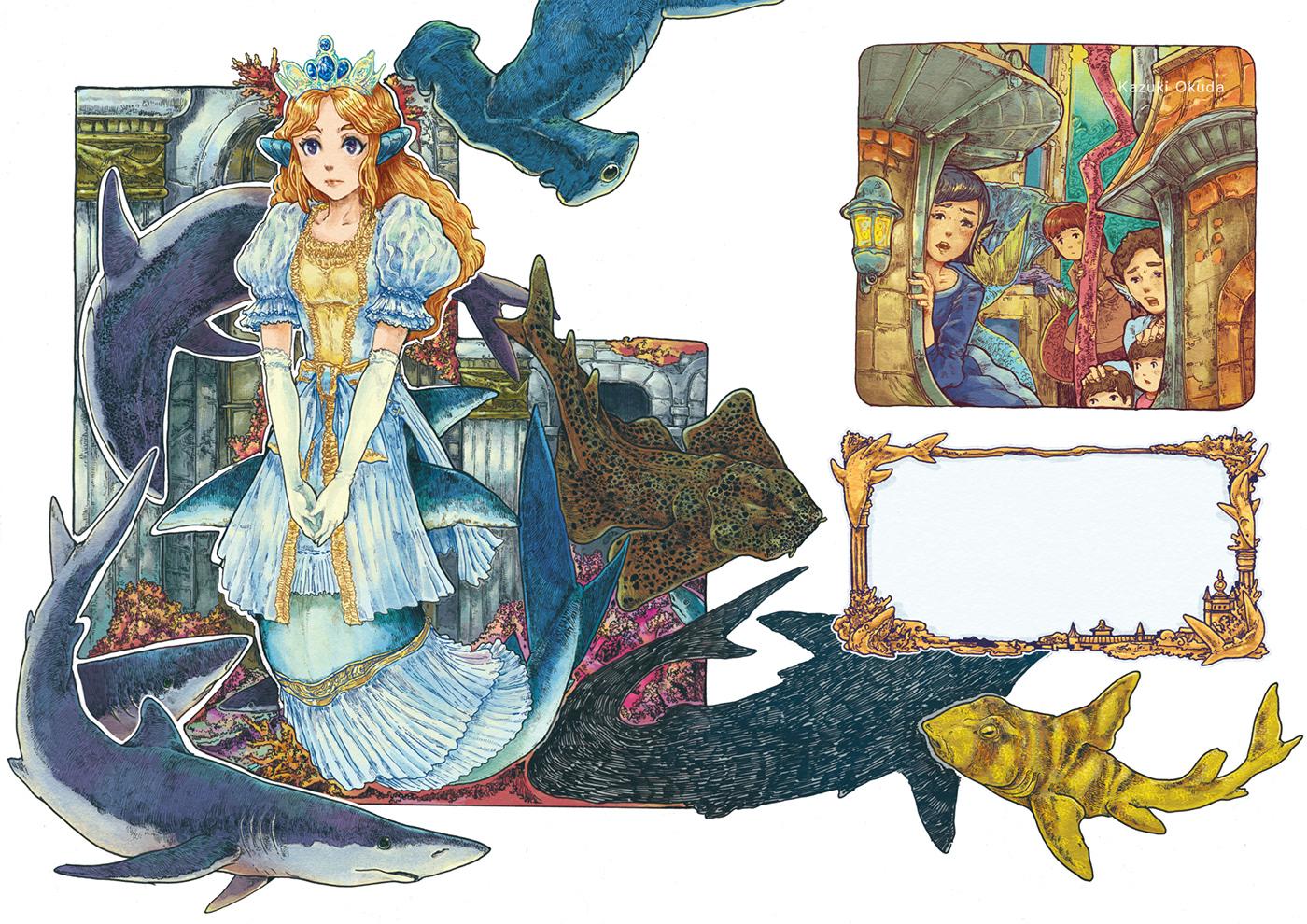 fairytale fantasy illust ILLUSTRATION  mermaid Nature Ocean photoshop picturebook Princess
