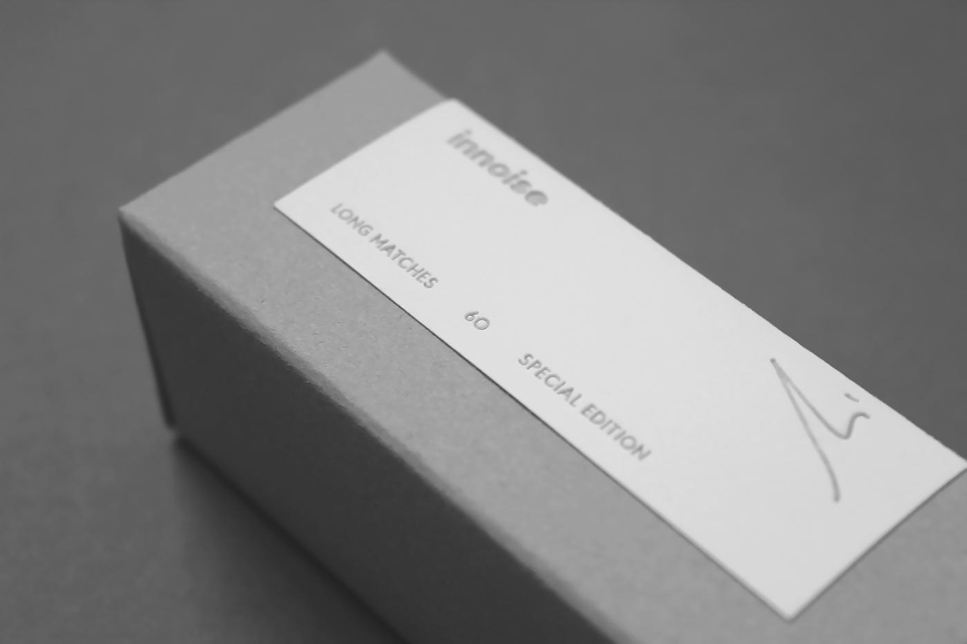 packing innoise jerry luk Matches Packing Design gray box black white Hong Kong Visual identiy