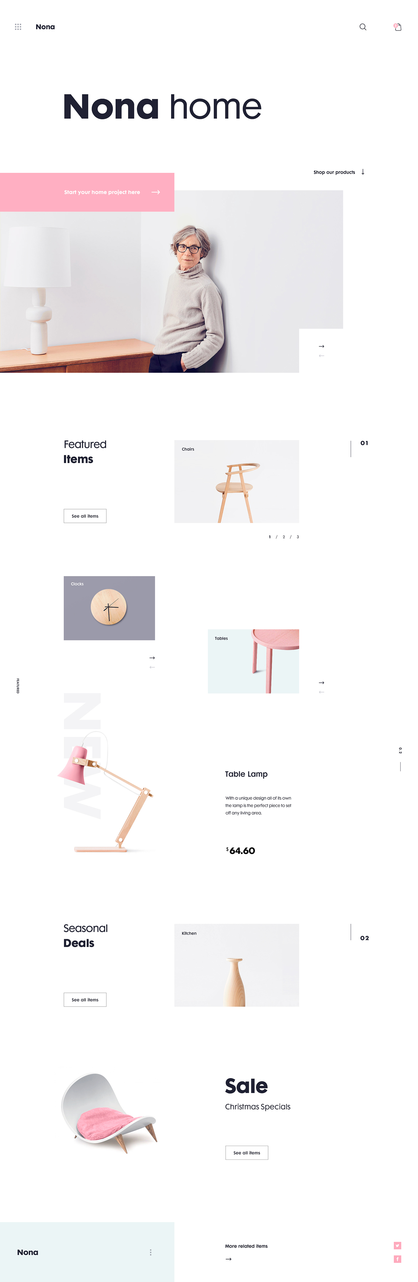 Website Web landing page UI ux Ecommerce app homepage minimalist