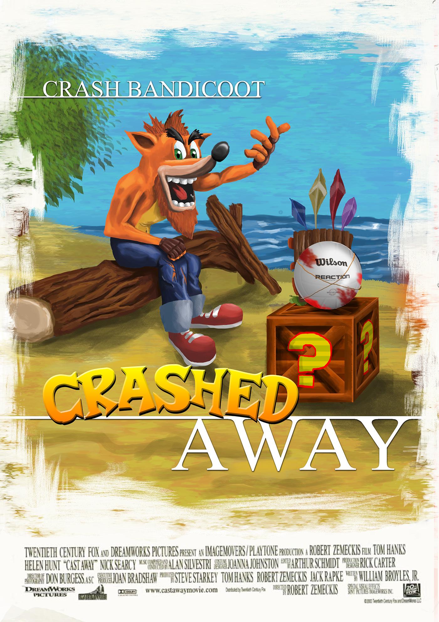 Crash Badicoot x Cast away Mad max x mario the legend of zelda majora's max x v for vendetta poster mashup