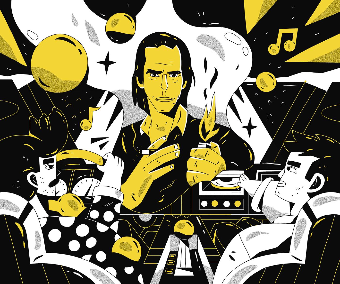 ILLUSTRATION  doodle magazine Drawing  wacom photoshop music story
