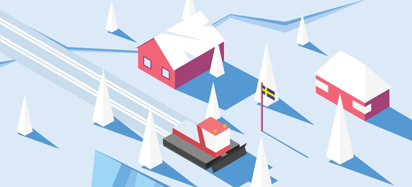 Isometric Ski Resort ILLUSTRATION  helicopter Cable Car winter Travel insurance