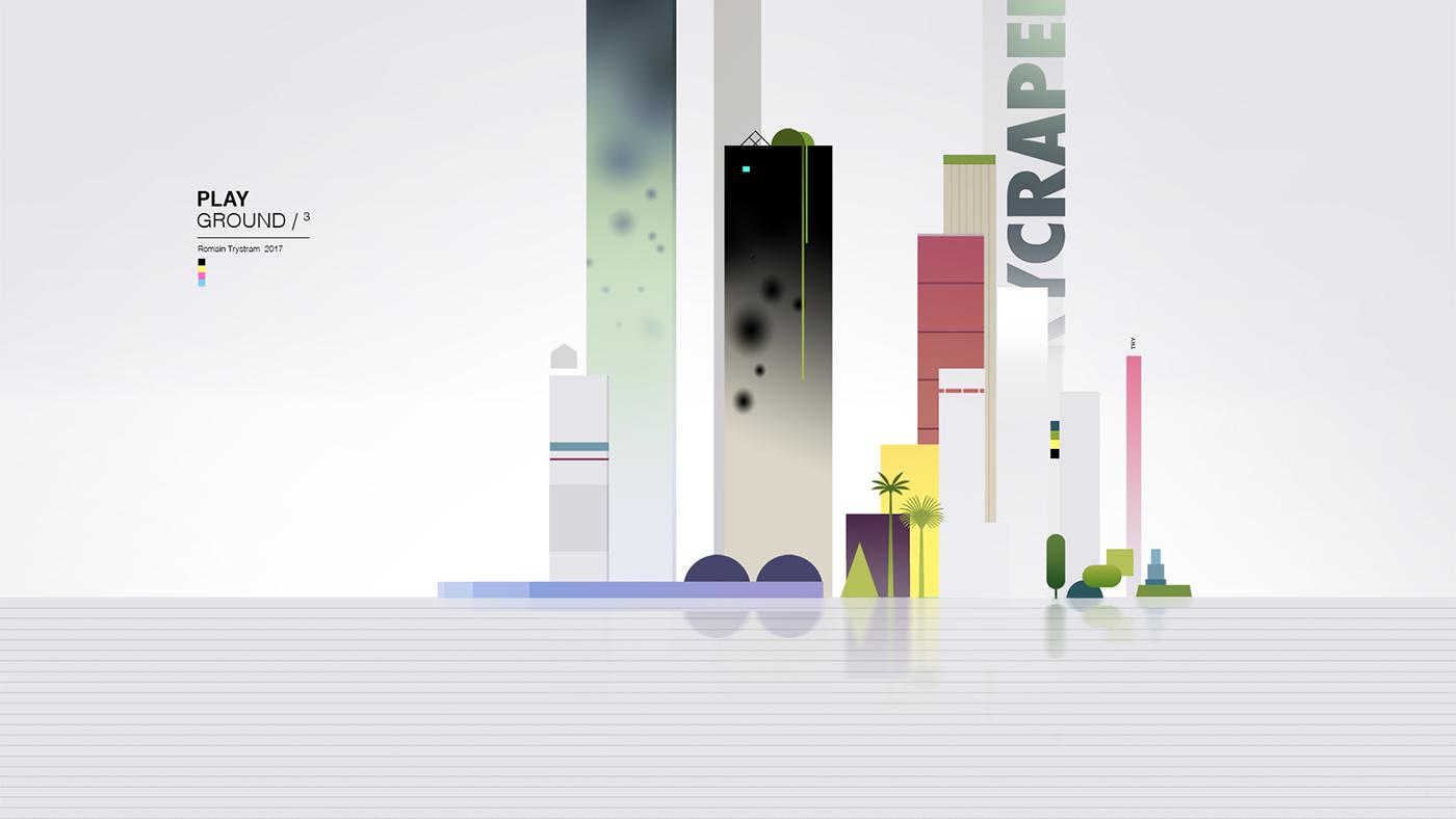 Castle Level Landscape game color flat Retro design geometric abstract