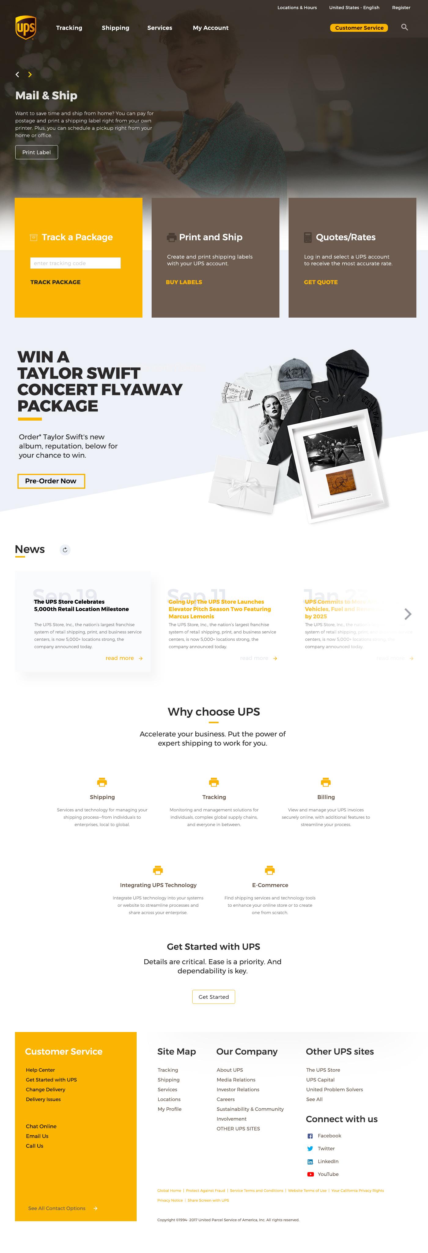 Website redesign UPS homepage flat minimal yellow
