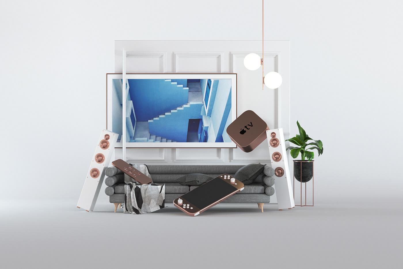 3D octane c4d stilllife design furniture styling  set deisgn