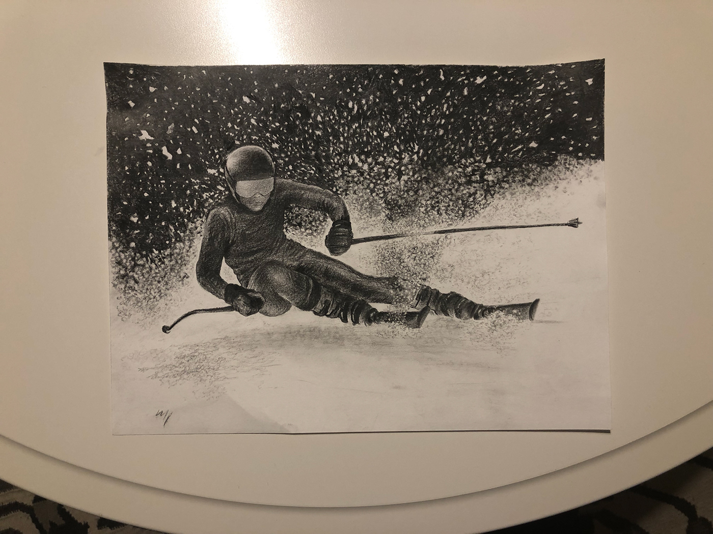 Image may contain: drawing, skiing and person