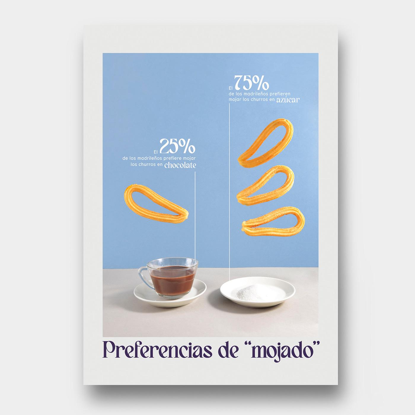 art direction  chocolate Churros dirección de arte Diseño infografico estadisticas food photography infografia infographic design set design