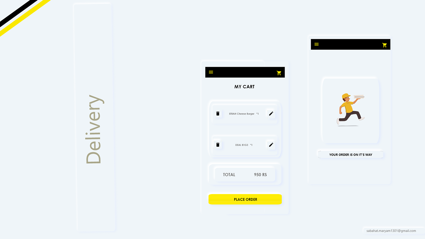 Food Delivery App  UI/UX  Concept with Neomorphic Style
