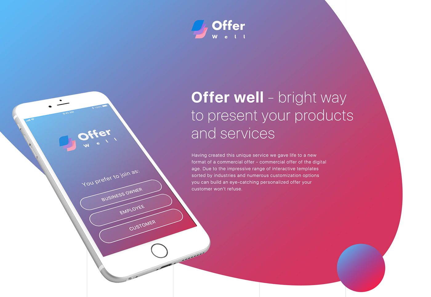 commercial offer maker commerical offer tool Mobile app gradient ux/ui dashboard business offer presentation Editor
