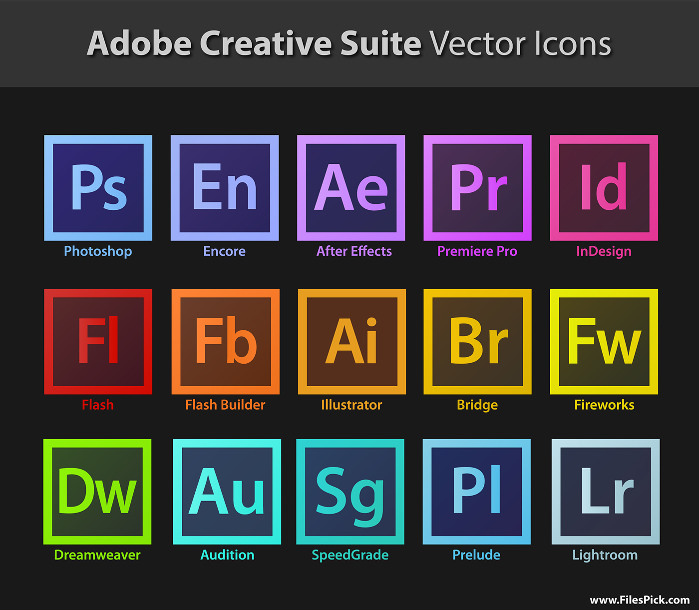adobe creative suite vector icons download on behance
