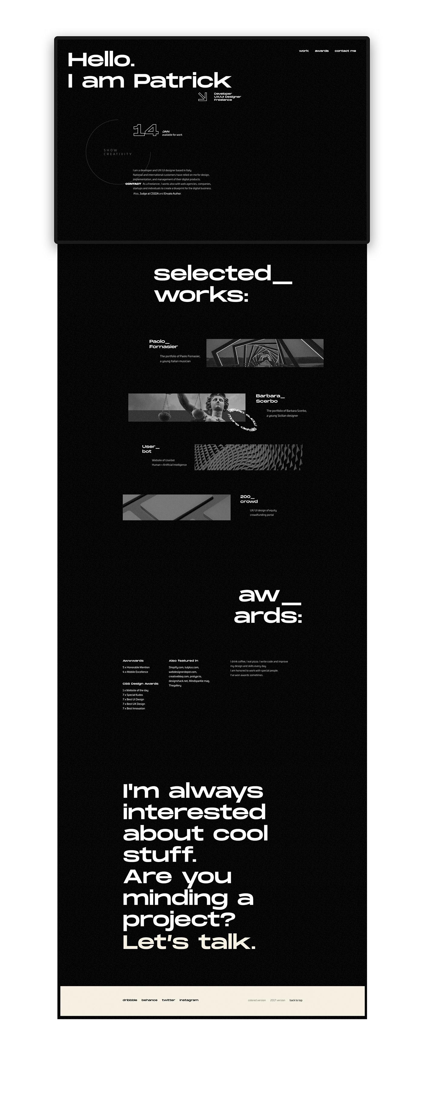 portfolio Web Design  minimal Web design typography   black white Website Progetto web One Page