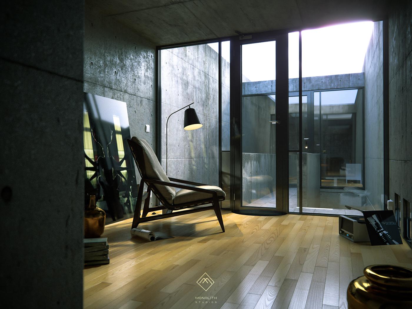 Tadao ando azuma house cgi on behance for Row house dimensions