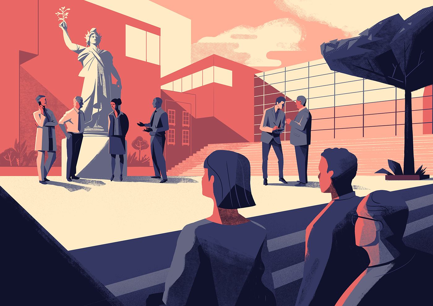 HATVP business illustration city Cty illustration corporate illustration corporate institutional france French Republic
