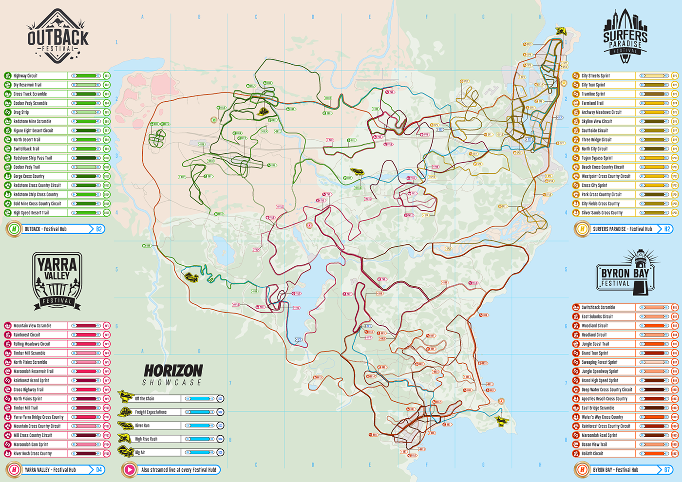 Full Map Of Australia.Horizon Festival Route Map A Real Life Map Of Forza Horizon 3 S