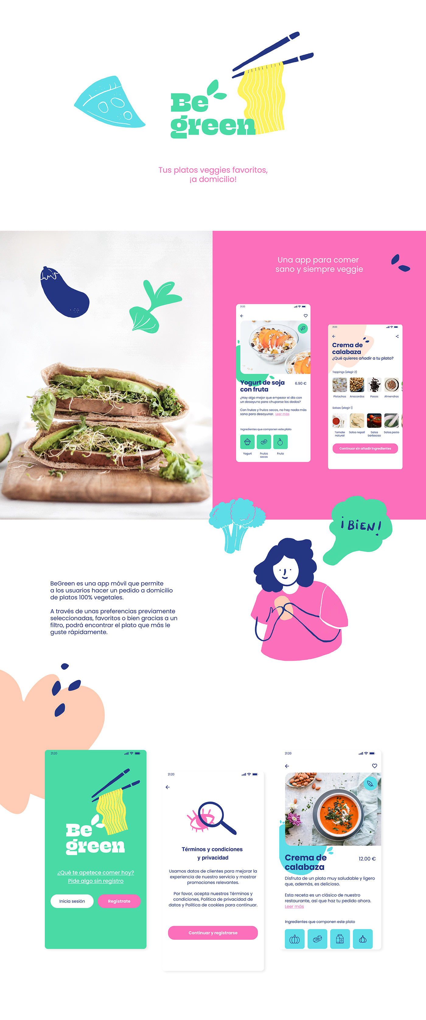 app food app ILLUSTRATION  UI user interface design