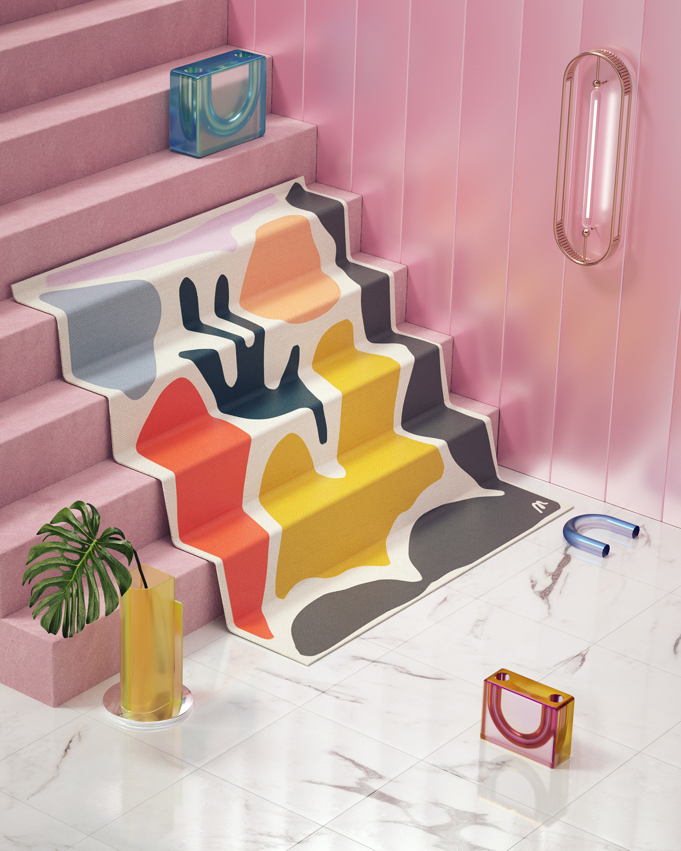 3D fabric c4d octane Marble workspace design textile Rug CGI