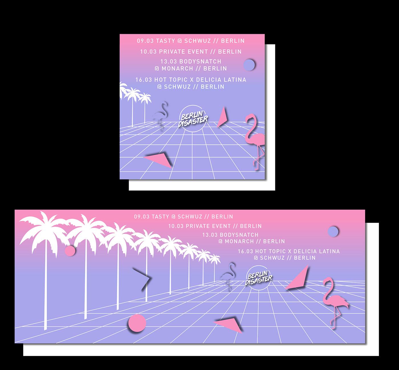 identity branding  digital graphic design  graphic ILLUSTRATION  neon vaporwave Memphis music